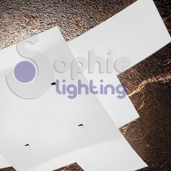 Lampadario soffitto 2 vetri incrociati bianchi arcuati moderno 4 lu - Lampadario bagno moderno ...