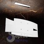 Lampada sospensione doppio vetro arcuato 75 cm bianco acciaio cromo moderno tavolo sala pranzo
