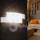 Lampada parete 57x20 cm vetro bianco arcuato sfalsato design corridoio vano scala