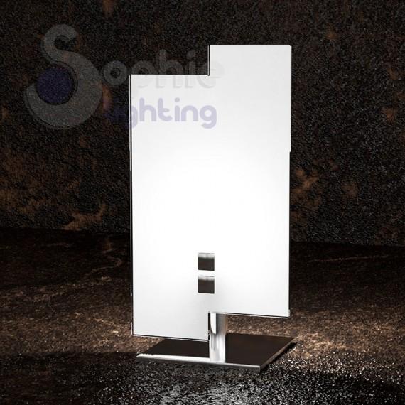 Lumetto abat jour moderno vetro bianco sfalsato acciaio for Abat jour moderne camera da letto