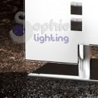 Lumetto abat jour moderno vetro bianco sfalsato acciaio cromato comodino stanza letto