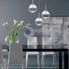Lampada sospensione soffitto LED 3 sfere pendenti cristallo vetro soffiato design tavolo
