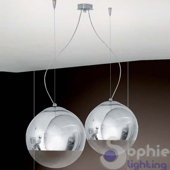 Lampadario sospensione 2 sfere pendenti design moderno acciaio cromo  altezza larghezza regolabili cucina