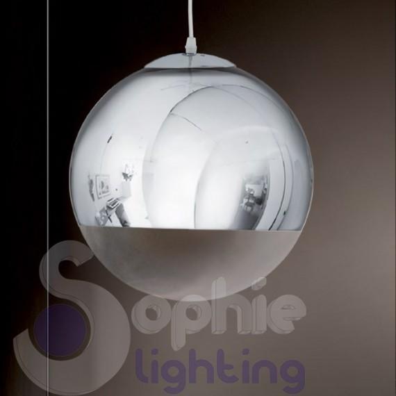 altezza lampadario : Lampadario sospensione 2 sfere pendenti design moderno acciaio cromo ...