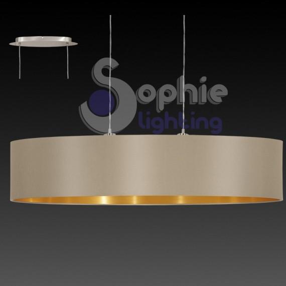 lampadario sospensione paralume tortora oro 100 cm design moderno t