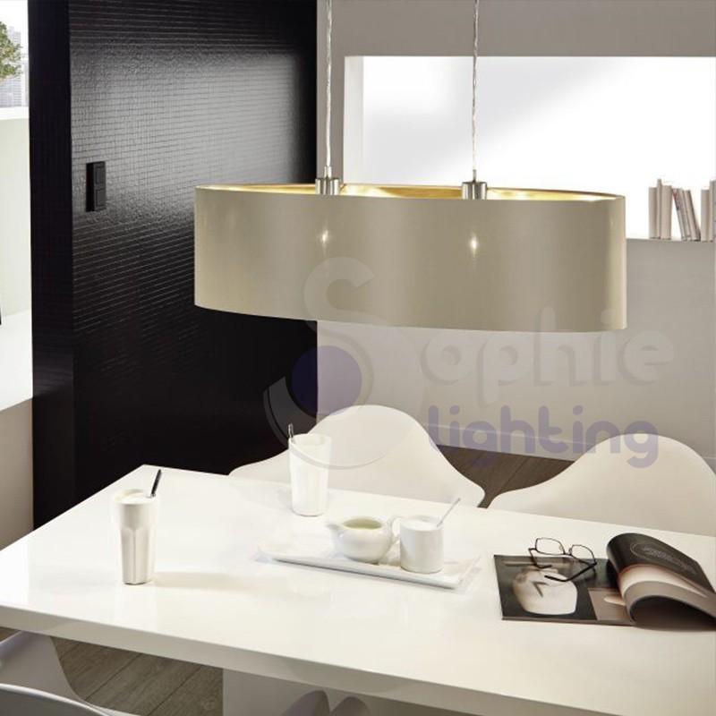 Lampada sospensione regolabile ovale lunga 78 cm moderno paralume tortora oro tavolo pranzo