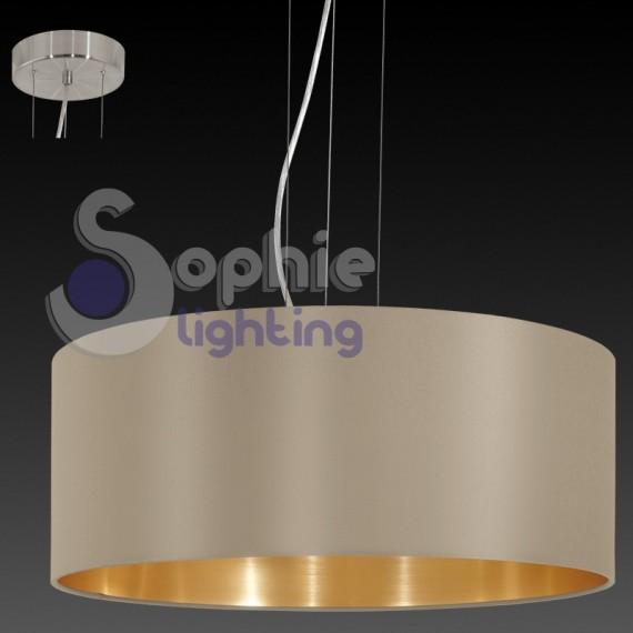 Lampadario paralume rotondo 53 cm design moderno oro tortora soggio...