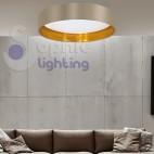 Plafoniera lampadario soffitto LED 18W luce calda design moderno paralume beige oro soggiorno