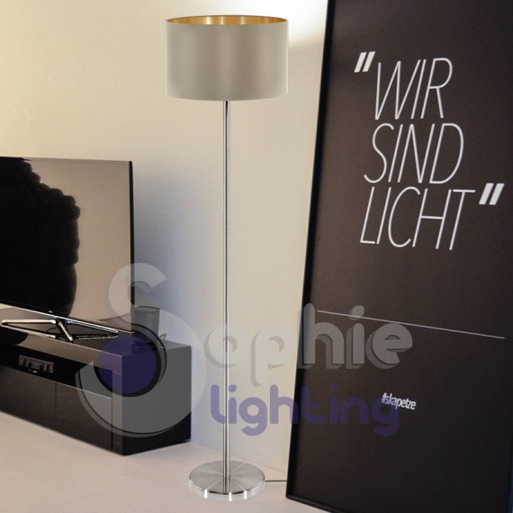 Piantana lampada terra design moderno acciaio cromo satinato paralume beige oro elegante