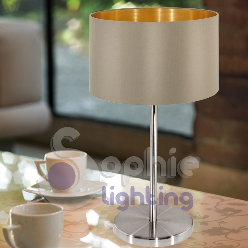 Lampada lumetto abat jour tavolo comodino design moderno for Tavolo acciaio design