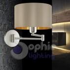 Applique lampada parete braccio regolabile design moderno paralume tortora oro cromata stanza da letto