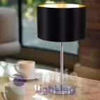 Lampada tavolo abat jour comodino scrivania paralume nero oro acciaio satinato design moderno elegante