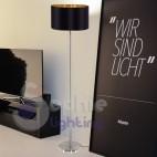 Piantana lampada terra stelo design moderno acciaio satinato paralume nero oro elegante soggiorno
