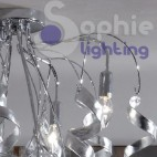 Plafoniera lampadario sospensione design moderno cromato riccioli cristallo pendenti cascata foglia argento oro