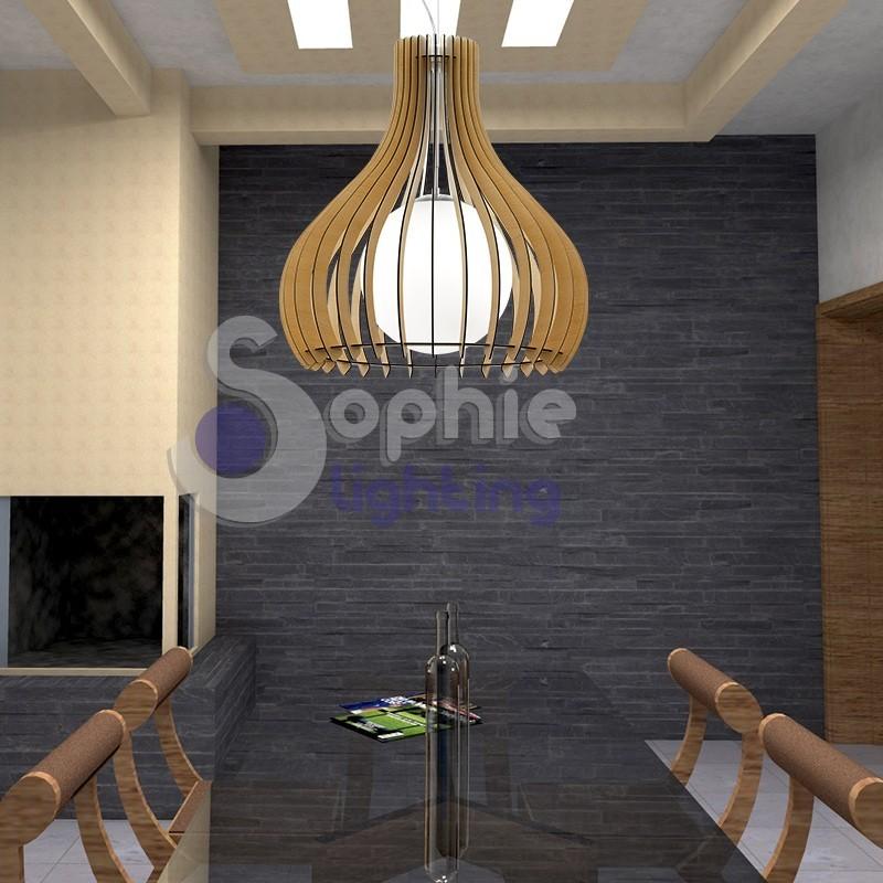 Lampadario moderno sospensione grande 80 cm design legno acciaio altezza 3 metri