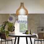 Lampadario moderno pendente design legno chiaro vetro satinato 60 cm