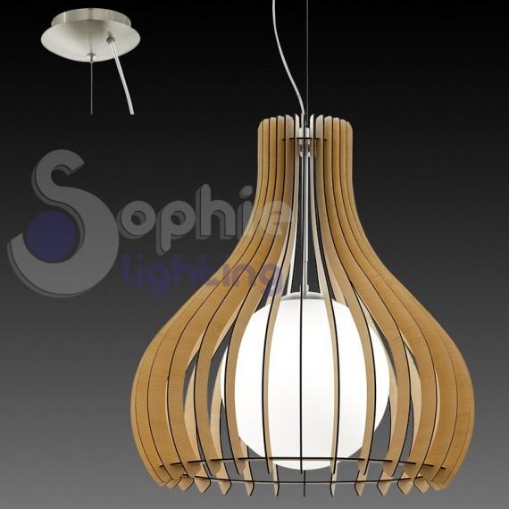 Lampadario moderno pendente design legno chiaro vetro for Lampadario legno moderno