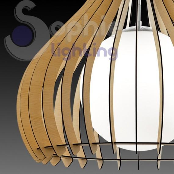 lampadario moderno pendente design legno chiaro vetro