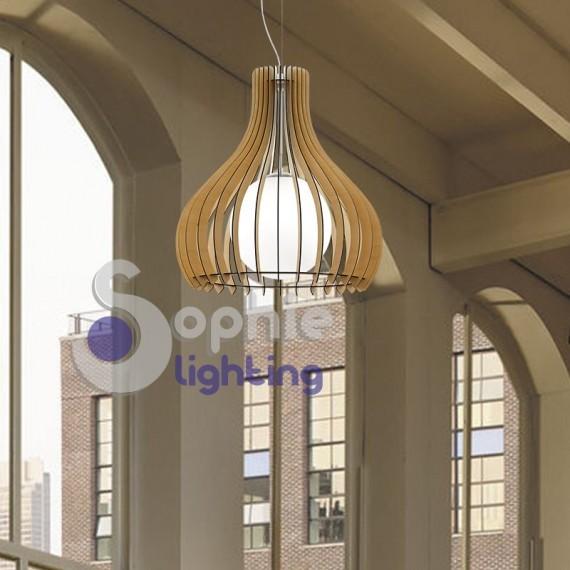 Lampada sospensione pendente altezza regolabile design legno diametro 50 cm