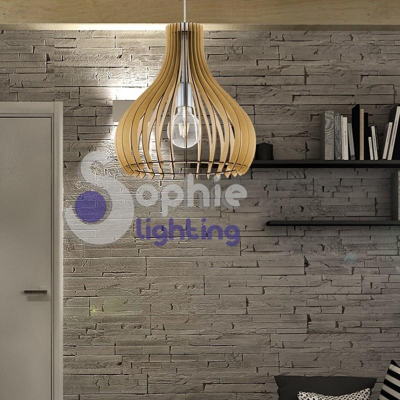 Lampadario sospensione penisola tavolo cucine design moderno acciaio satinato legno chiaro