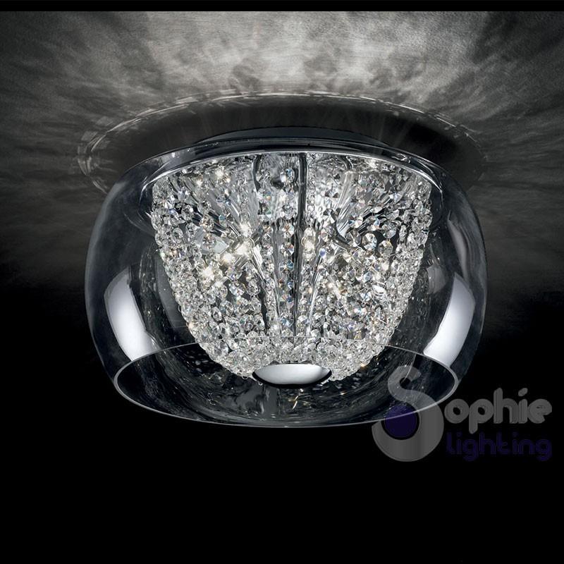 Plafoniera moderna rotonda vetro soffiato cristalli design moderno ...