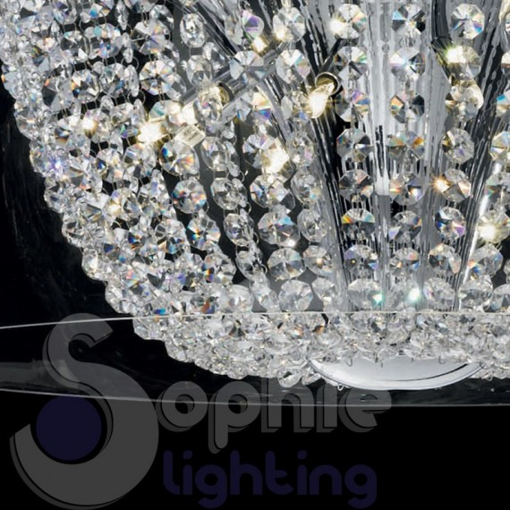 Plafoniera moderna rotonda vetro soffiato cristalli design for Plafoniera moderna