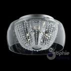 Plafoniera soffitto moderna vetro soffiato trasparente cristalli diametro 50 cm stanza da letto