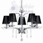Lampadario moderno 5 luci paralumi neri acciaio cromato argento cristalli soggiorno