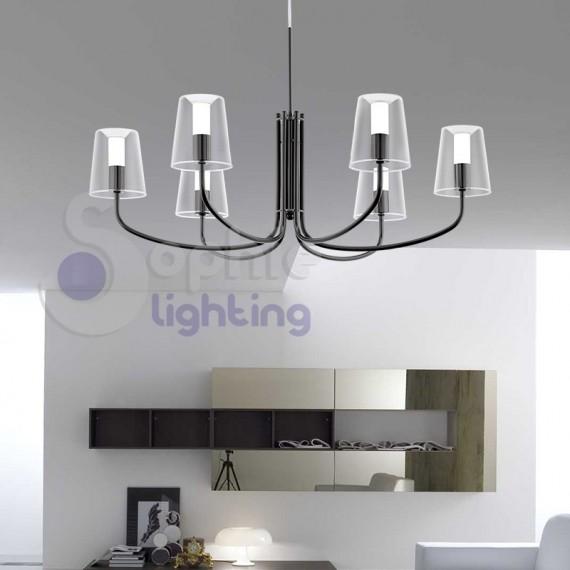 Lampadario moderno LED luce calda 6 luci acciaio nero lucido soggiorno