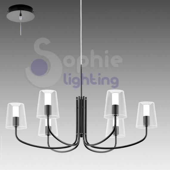 Lampadario moderno LED luce calda 6 luci acciaio nero ...