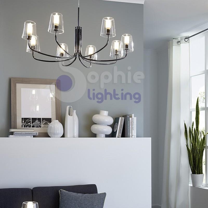 Lampadario moderno design 8 luci acciaio cromato vetro soffiato stanza ...