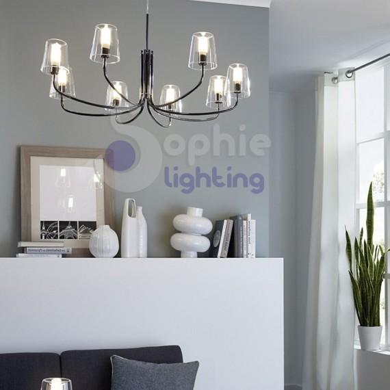 Lampadario moderno LED 8 luci diametro 82,5 cm nero lucido vetro satinato stanza letto