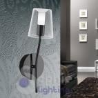 Applique parete LED sostituibili moderno design acciaio nero lucido vano scala corridoio