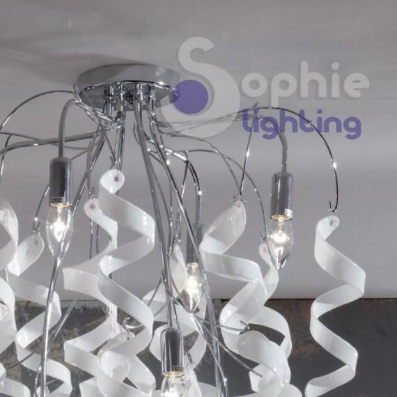 Sospensione plafoniera riccioli cristallo bianco pendenti cascata design acciaio cromato soggiorno