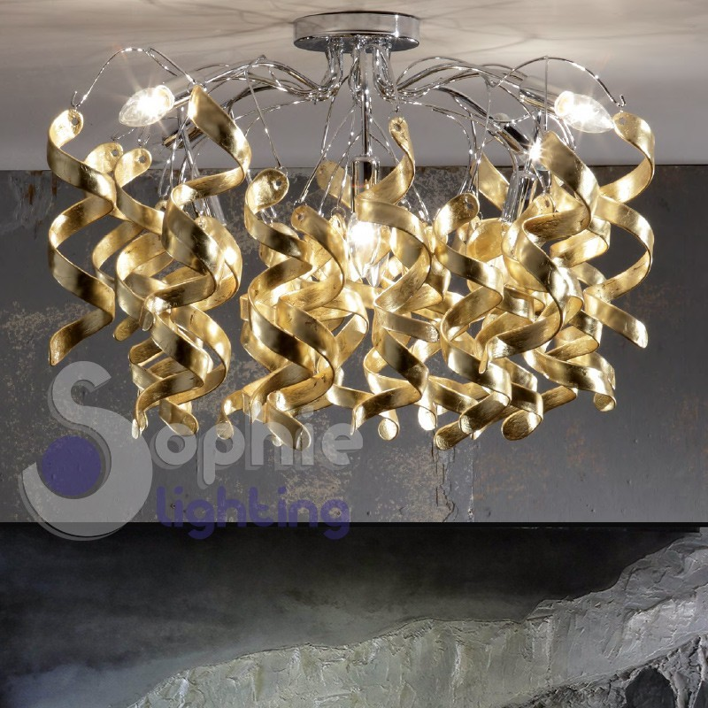 Plafoniera lampadario moderno soffitto design riccioli cristallo foglia oro acciaio cromato