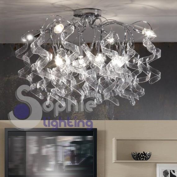 Plafoniera soffitto moderna riccioli cristallo pendenti 8 - Luci soggiorno moderno ...