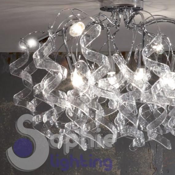 Plafoniera soffitto moderna riccioli cristallo pendenti 8 luci acciaio cromo design soggiorno