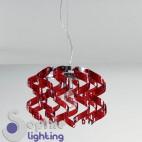 Lampadario moderno sospensione design riccioli cristallo rosso acciaio cromato cucina soggiorno