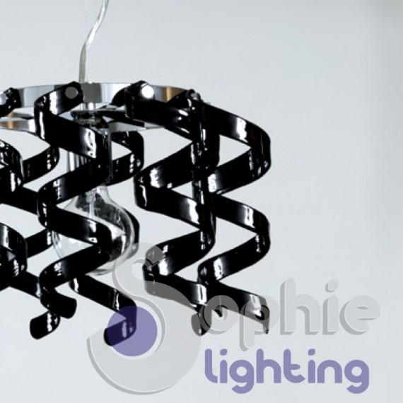 Lampadario moderno sospensione 2 luci altezza distanza punto luce regolabile riccioli cristallo nero