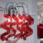 Applique moderno parete design riccioli cristallo nero cromato vano scala corridoio