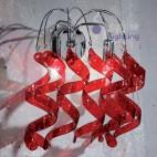 Applique moderno parete design riccioli cristallo rosso cromato vano scala corridoio