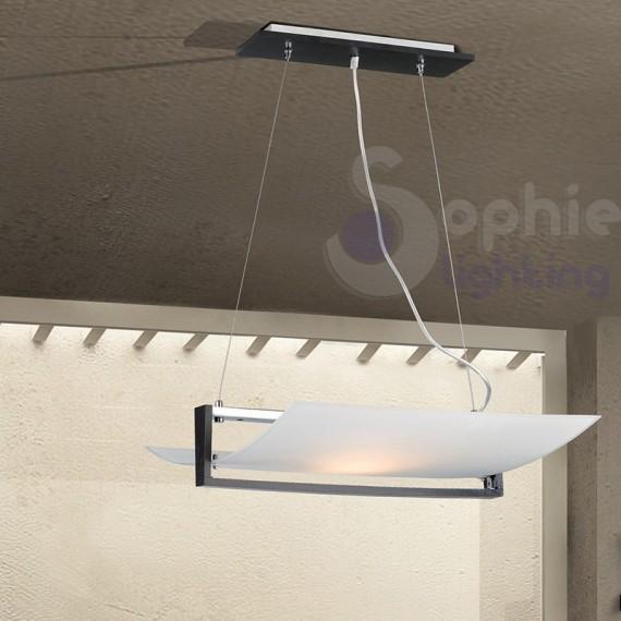 Lampadario sospensione moderno vetro curvo legno wengè tavolo cucina