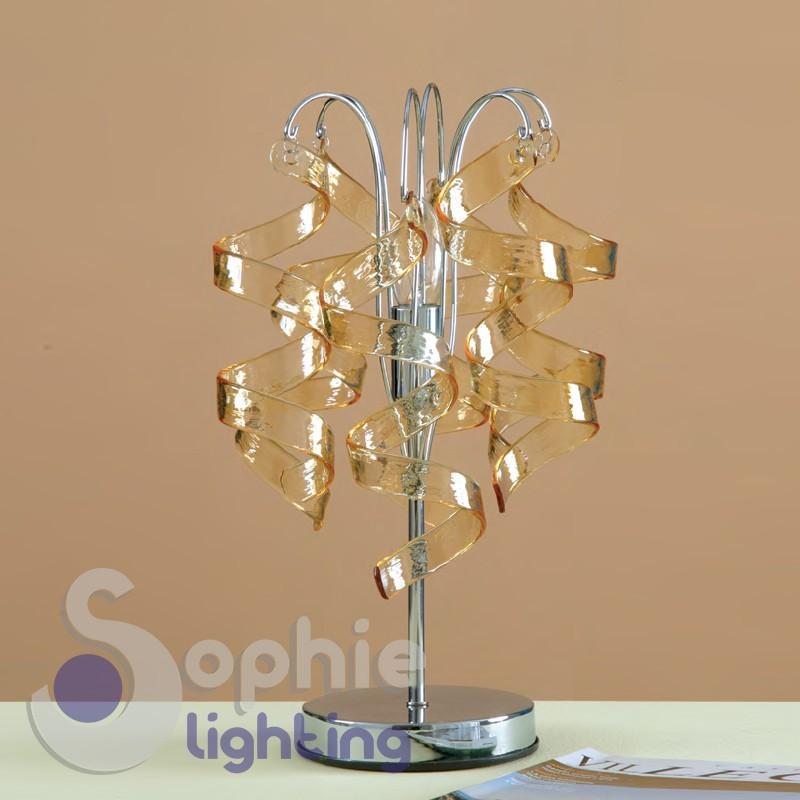 Abat jour moderno pendenti riccioli cristallo ambra design for Lampade da scrivania moderne