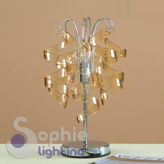 Abat jour moderno pendenti riccioli cristallo ambra design comodino...