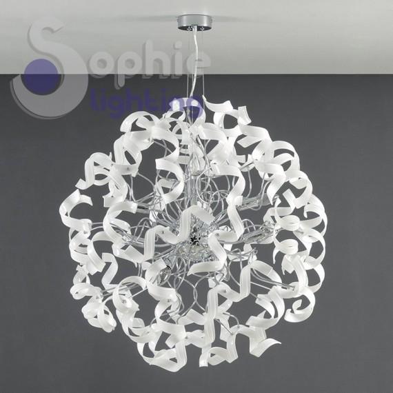 Lampadario moderno sospensione grande diametro 80 cm riccioli cristallo bianco 5 colori disponibili soggiorno