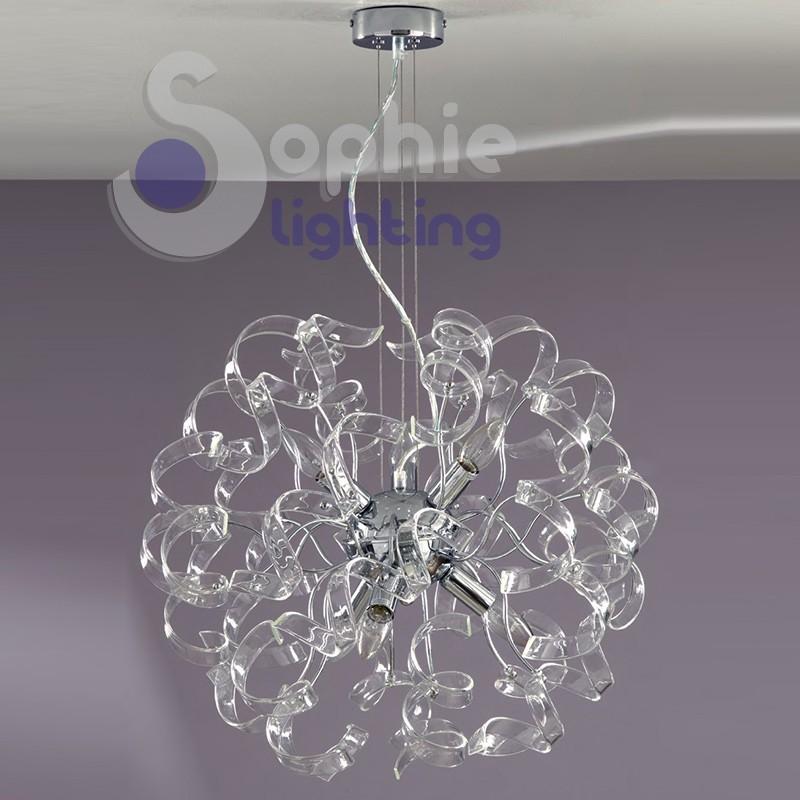 Lampadario moderno acciaio cromato riccioli cristallo 6 colori design soggiorno