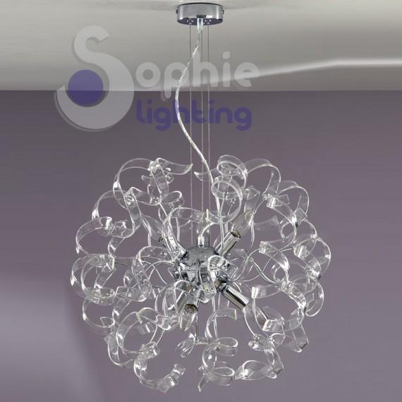 Lampadario moderno acciaio cromato riccioli cristallo 6 for Lampadari in acciaio moderni