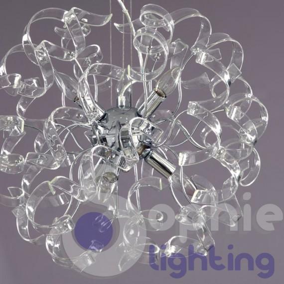 Lampadario moderno acciaio cromato riccioli cristallo 6 colori design ...